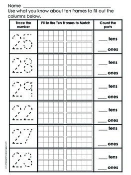 Place Value Practice Numbers 11 to 29