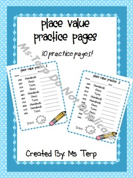 Place Value Practice Pages Hundreds, Tens, Ones