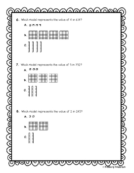Place Value Practice Review Worksheets - Multiple Choice - Rigor
