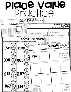 Place Value Practice Second Grade