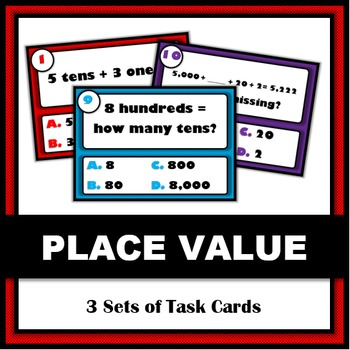 Place Value Practice/Task Cards - 3 Sets of 12 Cards