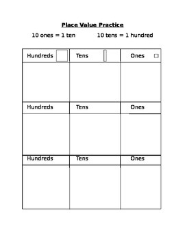 Place Value Practice Template