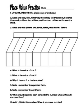 place value practice worksheet 4th grade by clowning around in third grade. Black Bedroom Furniture Sets. Home Design Ideas