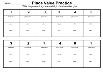 Place Value Practice and Flip Book up to Hundred Thousands
