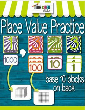 Place Value Practice in Color and Black Line