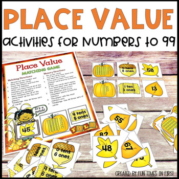 Place Value Practice to 99 {Fall Theme}