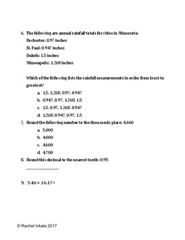 Place Value Pre-Assessment/Worksheet/Quiz