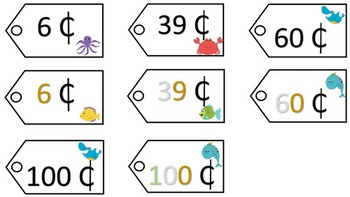 Place Value Price Tags - Ocean Theme