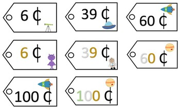 Place Value Price Tags - Space Theme