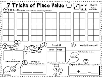 Place Value Print and Play Games {21 Games Halloween Themed}
