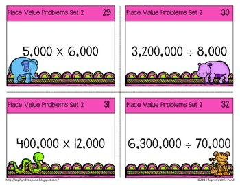 Place Value Problems Set 2 -  Multiples of 10 or 100 {Math Task Cards}