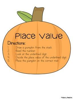 Place Value Pumpkins Math Station Activity