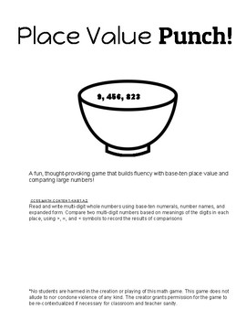 Place Value Punch! - Low-Prep Math Game or Math Center - Reading & Comparing #'s
