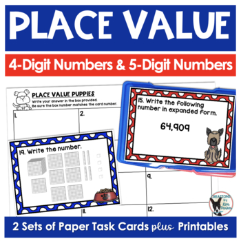 Place Value Scoot Game/Task Cards and Printables- Dog Themed