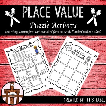 Place Value Puzzle Activity Matching Written Or Word Form With