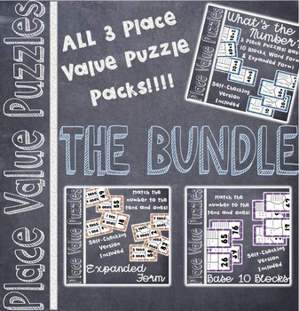 2 Digit Place Value Puzzle BUNDLE for Math Centers