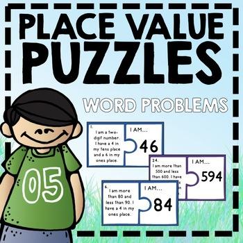 Place Value Puzzle Cards - word problems for problem solvi