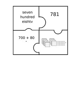 Place Value Puzzle Piece Matching Game