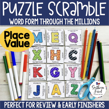 Place Value - Puzzle Scramble - Word Form Through the Millions