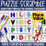 Place Value Puzzle Scramble - Word Form Through the Hundred Thousands
