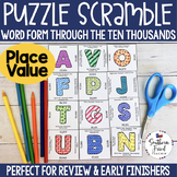 Place Value Puzzle Scramble - Word Form Through the Ten Thousands