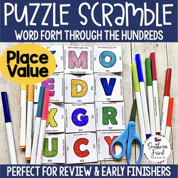 Place Value Puzzle Scramble - Word Form Through the Thousands