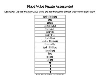 Place Value Puzzle to Billions-Activity & Assessment