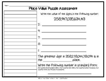 Place Value Puzzle to Billions, including Decimals - Activity & Assessment