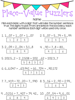 Place Value Puzzlers