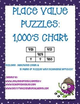 Place Value Puzzles: 1000's Chart