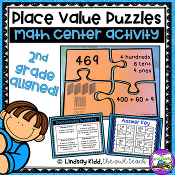 Second Grade Place Value Game:  On-Level Puzzles