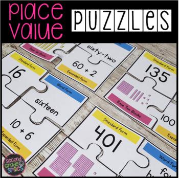 place value puzzles by second grade smiles teachers pay teachers. Black Bedroom Furniture Sets. Home Design Ideas