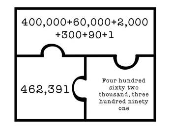 Place Value Puzzles - 6 digit numbers - Expanded, Standard, and Word Form