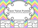 Place Value Puzzles - 6 digit numbers - Expanded, Standard