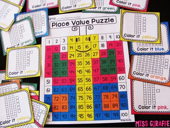 Place Value 100 Chart Puzzles BUNDLE