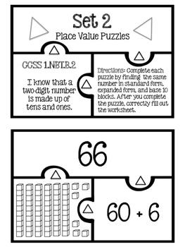 Place Value Puzzles (Base Ten, Expanded Form, Standard Form) 1.NBT.2