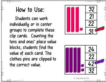 Place Value Clip Cards (Numbers 1-100)