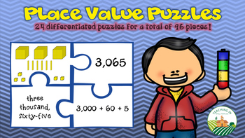 Place Value Puzzles - Standard, Expanded, and Word Form