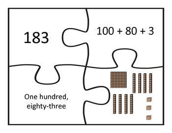 Place Value Puzzles- Three-Digit Numbers-Standard, Expanded, Word Form, & Model