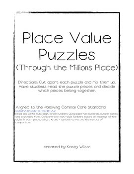 Place Value Puzzles (Through the Millions Place)