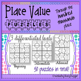 Differentiated Place Value Puzzles to the Hundred Thousands Place