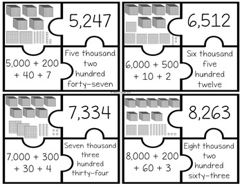 Differentiated Place Value Puzzles to the Thousands Place