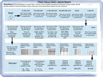 Place Value QR Task Cards, Place Value Dash Game