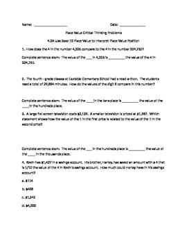 Place Value Questions TEKS 4.2A