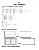 Place Value Quiz 1