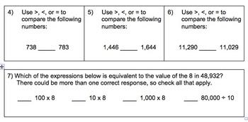 Place Value Quiz (4.NBT.A.1 & 4.NBT.A.2)