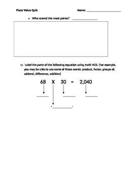 Place Value Quiz 4th Grade EDITABLE
