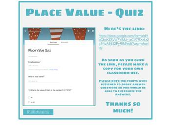 Place Value Quiz - Google Form