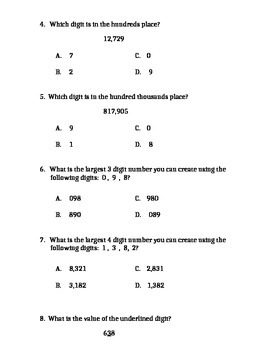 Place Value Quiz / Test for 3rd 4th Grade Common Core