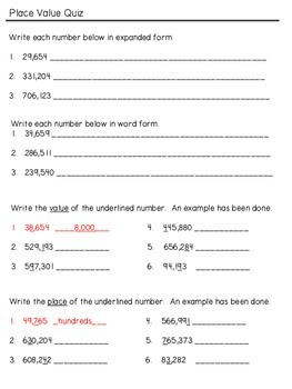 Place Value Quiz (through hundred-thousands)